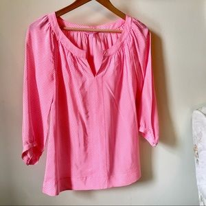 Neon pink striped Lilly Pulitzer silk top